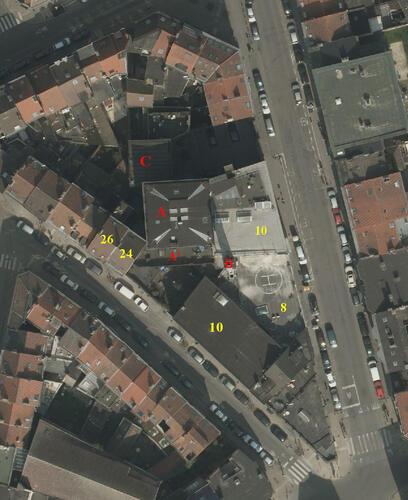 Rue Metsys 8 et 10, rue des Ailes 10, 24 et 26, vue aérienne, (Bruxelles UrbIS ® © - Distribution : C.I.R.B., avenue des Arts 20, 1000 Bruxelles)