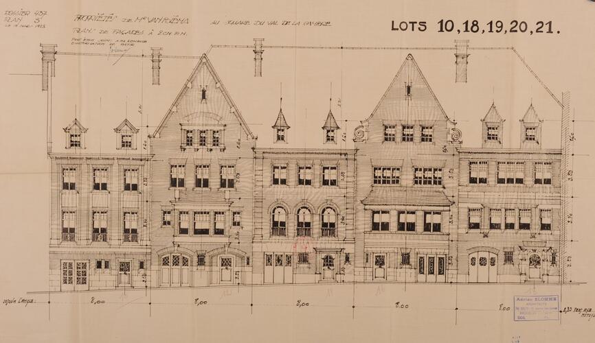 Square du Val de La Cambre 10 à 18, élévations, ACI/Urb. 294-10A-18 (1928).
