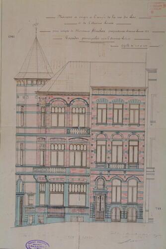 Avenue Louise 340 et rue du Lac 52 et 54, élévation vers l'avenue, AVB/TP 1949 (1899)