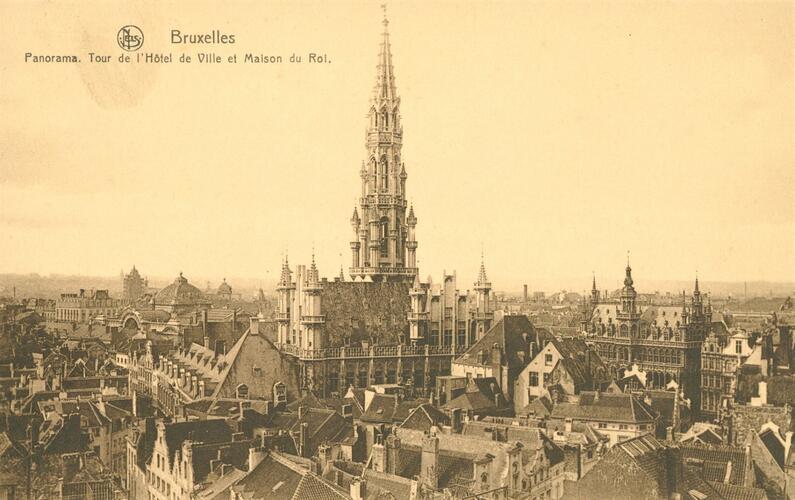 Toren van het Stadhuis van Brussel (Verzameling Belfius Bank-Académie royale de Belgique © ARB – urban.brussels, DE18_008)
