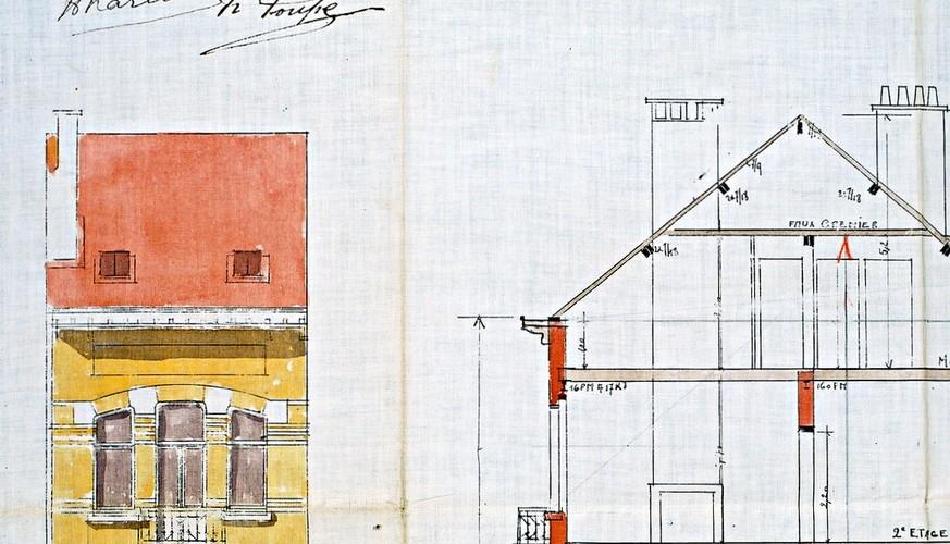 Elévation et coupe d'une toiture en bâtière abritant le comble, place Antoine Delporte 7, Saint-Gilles, 1910, architecte Pierre Verbruggen, ACSG/Urb. 240 (1910)