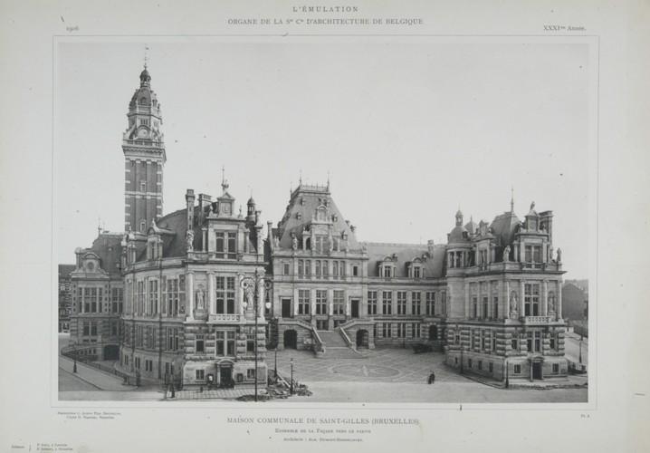 Style néo-Renaissance française, hôtel de ville, place Maurice Van Meenen 39, Saint-Gilles, 1896, architectes Albert Dumont et Auguste Hebbelynck (<i>L'Émulation</i>, 1906, pl. 1)