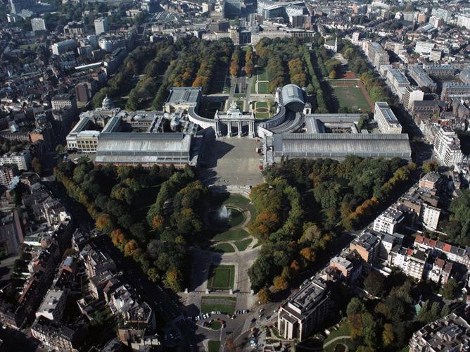 Vue aérienne du parc du Cinquantenaire, © Régie des Bâtiments