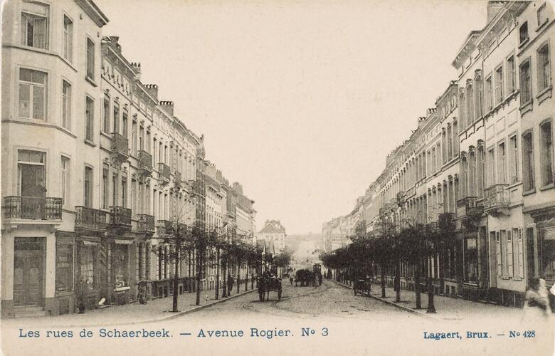 Vue de l'avenue Rogier depuis la rue Josaphat vers l'est, (Collection Dexia Banque-ARB-RBC)