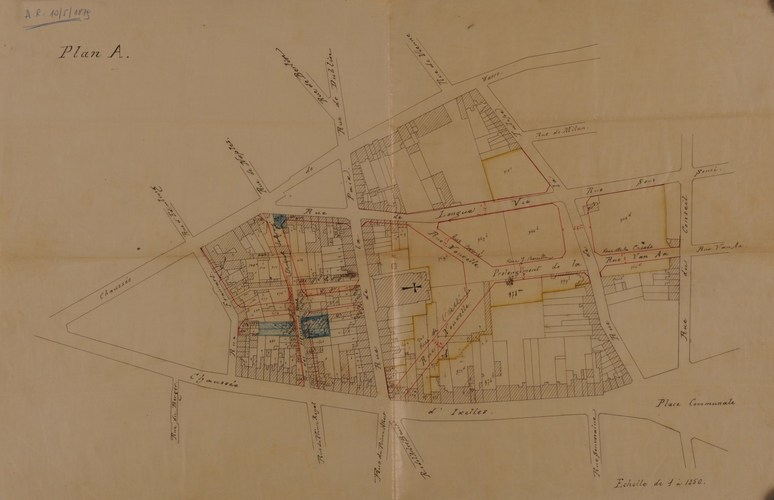 Plan d'ensemble pour l'ouverture, le prolongement et l'élargissement de rues aux abords de l'église St-Boniface, partie comprise entre la rue Francart, la chaussée de Wavre, le rue du conseil et la chaussée d'Ixelles, ACI/TP 28 (1876)