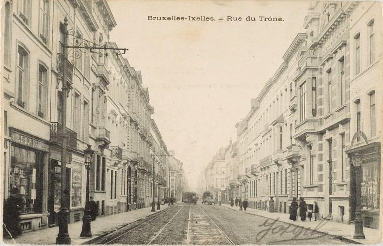 Rue du Trône, vers 1900 (Collection de cartes postales Dexia Banque)