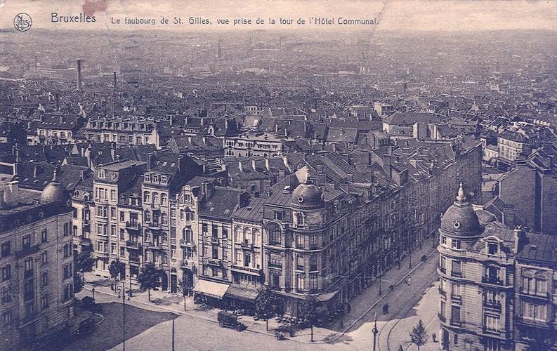 Adolphe Demeurlaan, panoramisch zicht vanuit toren van Stadhuis van Sint-Gillis (Verzameling van Dexia Bank, ca 1908)