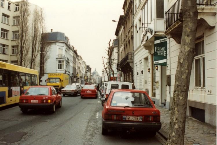 Rue du Méridien, vue en direction de la chaussée de Haecht (photo 1993-1995)