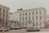 Place Royale 4, angle rue de la Régence 2 et rue de Namur 1. Portiques et façades des immeubles bordant la place Royale. Portique de la rue de Namur ; Anc. Palais du comte de Flandre, 1986