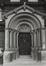 avenue de Stalingrad 30-36, ancienne église Saint-François-Xavier, détail portail, angle rue Roger van der Weyden, 1980