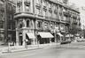 Boulevard Adolphe Max 28-34. Immeuble de rapport éclectique, détail étages inférieurs, angle rue de la Fiancée 9, 1983