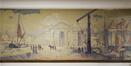 Place des Armateurs 6, rez-de-chaussée, partie gauche du couloir, détail d'une toile, ARCHistory / APEB, 2017