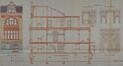 Rue des Artistes 74, élévation, coupe longitudinale et détails intérieurs© AVB/TP Laeken 3514 (1912)