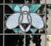 Parvis Notre-Dame 11, détail d'un vitrail d'imposte, 2017