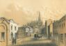 Zicht van de Palaisstraat richting Onze-Lieve-Vrouwkerk met links het voormalig gemeentehuis, lithografie uit 1866 door Joseph Hoolans© (KBR, Prentenkabinet)