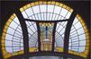 Rue Renkin 90-92, vitrail d'imposte de la fenêtre gauche du bel étage, 2014