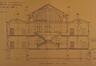 Rue Verwée 12, École moyenne de filles, grand préau et corps de classes, coupe transversale© ACS/TP École moyenne pour filles rue Verwée (1901)
