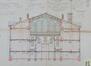 Rue Élise 100, bâtiment principal, coupe transversale du préau,© ACI/TP farde 170, feuille n°11 (s.d.).