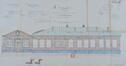 Rue Élise 100, Jardin d'enfants et dépendances de la section des filles, élévation vers la cour des enfants© ACI/TP farde 170, feuille n°22 (1903).