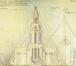 L'église Saint-Augustin, dessin de façade de l'église Saint-Augustin, architectes Léon Guiannotte et André Wsatteyne, 1932, Archives de l'église paroissiale Saint-Augustin de Forest, inventaire des plans, église Saint-Augustin à Forest, place de l'Altitude 100