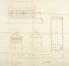 Sint-Denijsplein 11-12, voormalige feestzaal (gesloopt), doorsneden en plattegrond, GAV/DS 461 (1884).