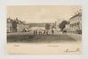 La place Saint-Denis avec, sur la droite, l'ancienne forge de Deridder, 1902, Collection Belfius Banque - Académie royale de Belgique ©ARB-urban.brussels