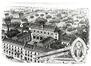 Institut des Dames de Marie. En-tête de papier à lettre, présentant la situation vers 1900 (ACSJ/Urb./TP 5834)