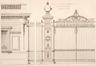 Parc Léopold, détail des pavillons d'entrée, par G. Bordiau© L'Émulation, 1876, pl.33