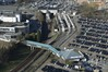 Vue depuis l'Atomium de la passerelle menant à Bruparck et des voies de métro et de tram vers la station Heysel© ARCHistory / APEB, 2018