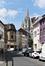 Rue des Palais Outre-Ponts, vue vers l'église Notre-Dame, 2017
