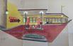 Rue des Palais Outre-Ponts 362-364, perspective aquarellée de l'ancienne station-service© AVB/TP 68630 (1933)