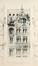 Maison In den Anker, projet de façade des architectes Van Massenhove et Low, primé au Concours de 1897 mais non réalisé© (VAN MASSENHOVE, H., LOW, G., Les Maisons Modernes, Livraison II, éditeur Constant Baune, Bruxelles, 1901, pl. XVI)