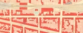 La rue d'Aerschot encore bâtie côté impair, détail du Plan de la commune de Schaerbeek 1876, dressé par l'Institut géographique national© (Institut géographique national)