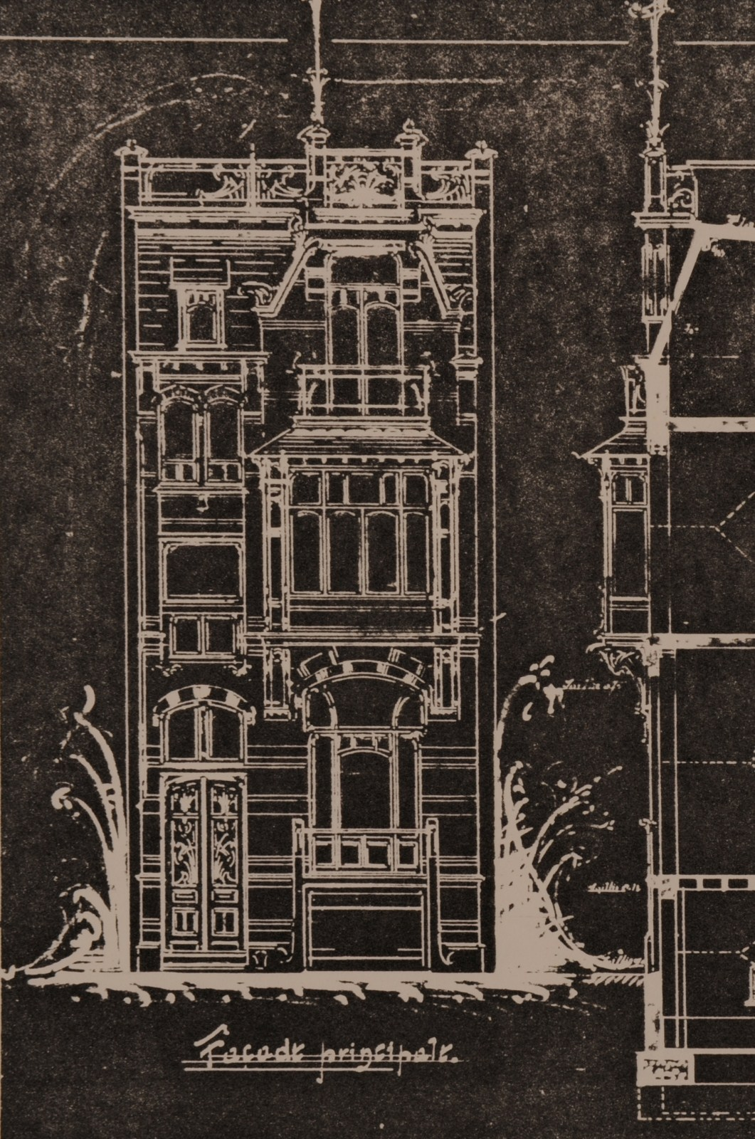 Rue de l'Abdication 4, reproduction de l'élévation et de la coupe de la façade, AVB/TP 6386 (1902).