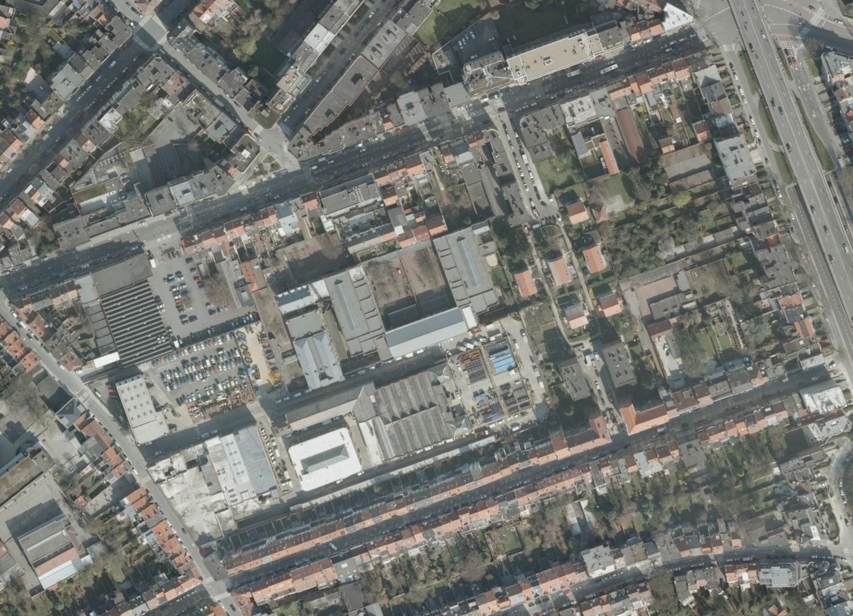 Cité ouvrière de Linthout, vue aérienne © (Bruxelles UrbIS ® © - Distribution : C.I.R.B., avenue des Arts 20, 1000 Bruxelles)