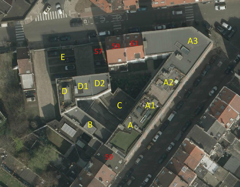 Rue Van Schoor 61-61a - rue du Pavillon 55, 61-63, vue aérienne© (Bruxelles UrbIS ® © - Distribution : C.I.R.B., avenue des Arts 20, 1000 Bruxelles)