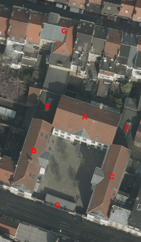 Rue Rogier 188 et rue Lefrancq 13, École communale no 3, vue aérienne © (Bruxelles UrbIS ® © - Distribution : C.I.R.B., avenue des Arts 20, 1000 Bruxelles)