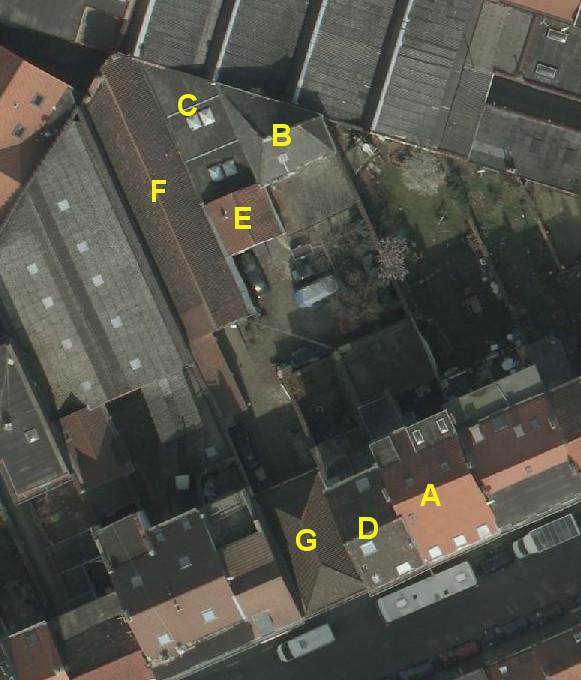 Rue Thiéfry 69, vue aérienne© (Bruxelles UrbIS ® © - Distribution : C.I.R.B., avenue des Arts 20, 1000 Bruxelles)