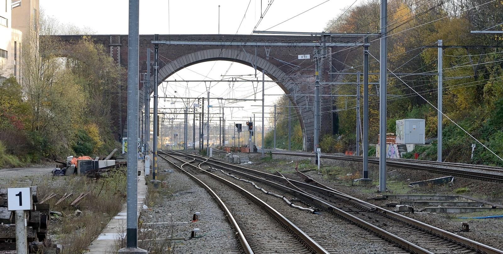 Avenue Arnaud Fraiteur, pont enjambant le chemin de fer, vue depuis la gare d'Etterbeek, 2014