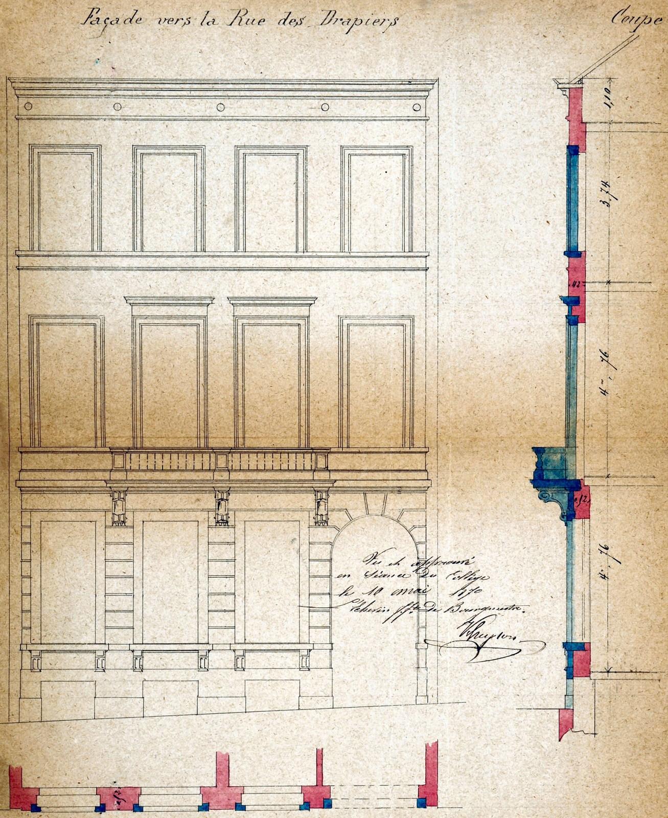 Rue des Drapiers 30, élévation, ACI/Urb. 102-30 (1870).