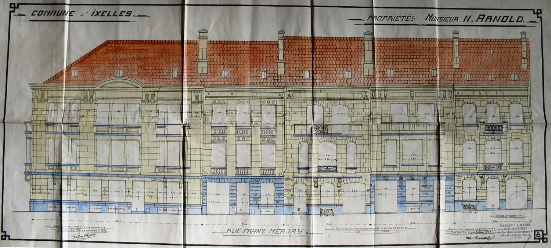 Rue de la Réforme 3, 1 et rue Franz Merjay 42, élévations, ACI/Urb. 261-1 (1928).