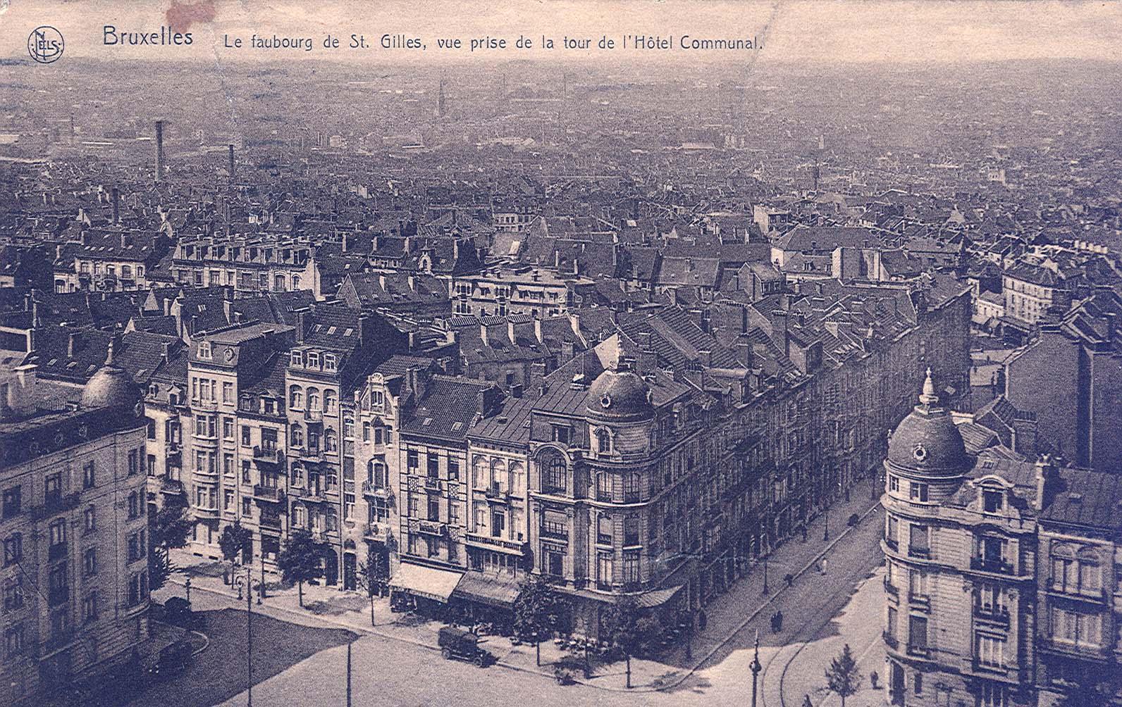 Zicht over Sint-Gillis vanaf het Stadhuis van de gemeente, rond 1908 (Verzameling van Dexia Bank).