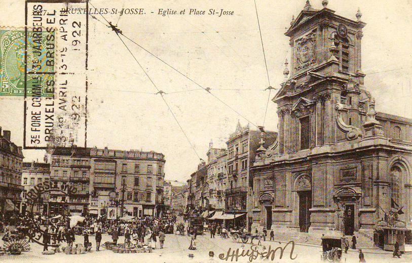 Het Sint-Joostplein en de kerk (Verzameling van Dexia Bank).