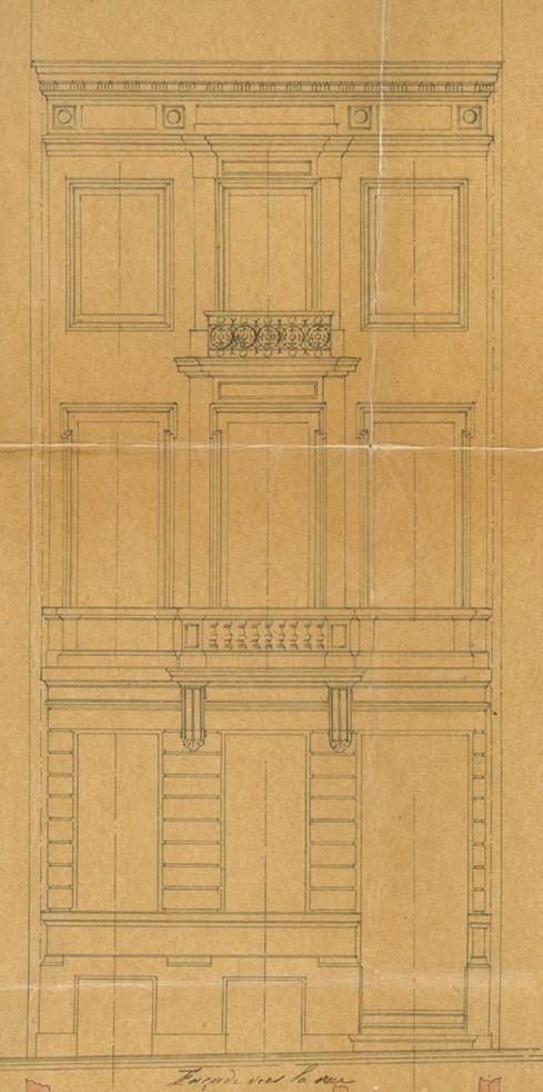 Élévation, rue Berckmans 87, Saint-Gilles, ACSG/Urb.  2912 (1875).
