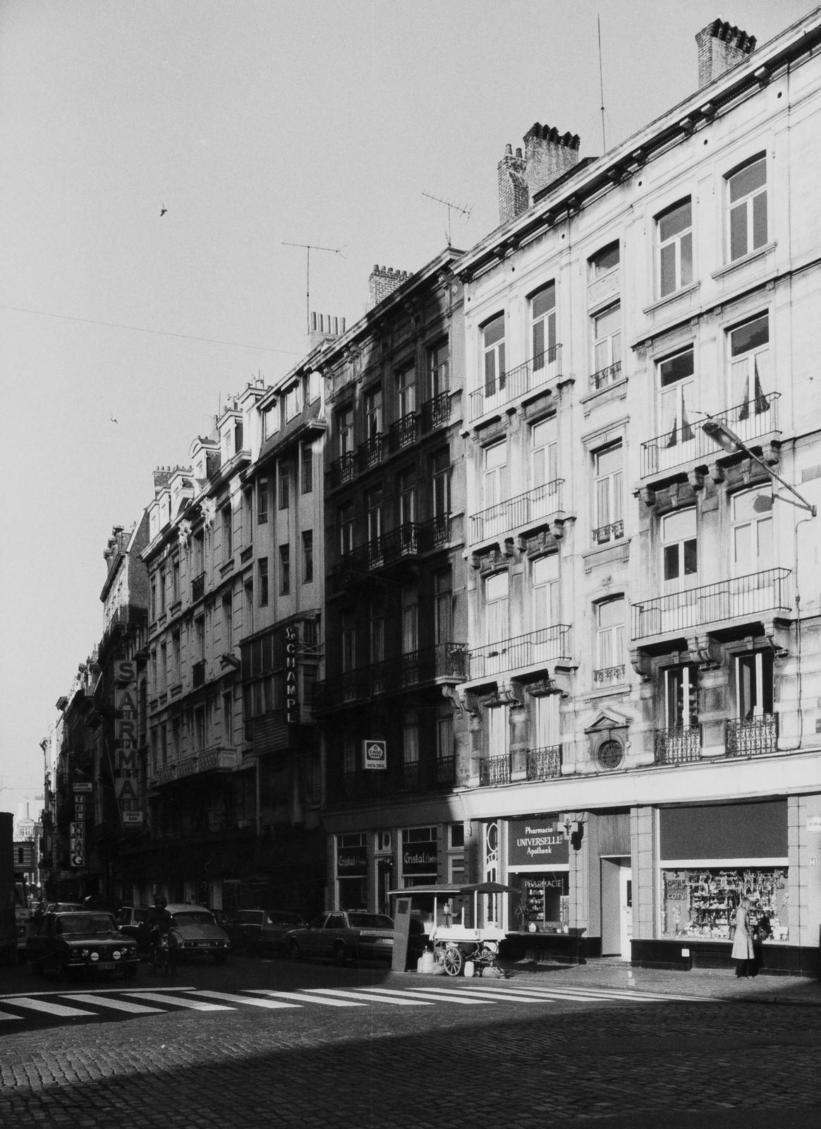 rue Antoine Dansaert, n° impairs, vue depuis la rue A. Orts., 1978