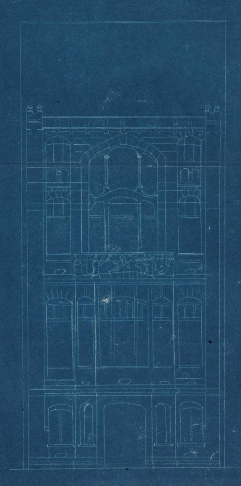 Rue de Belle-Vue 22 (démolie), maison de style Art nouveau, architecte Franz Tilley, élévation, AVB/TP 7402 (1900).