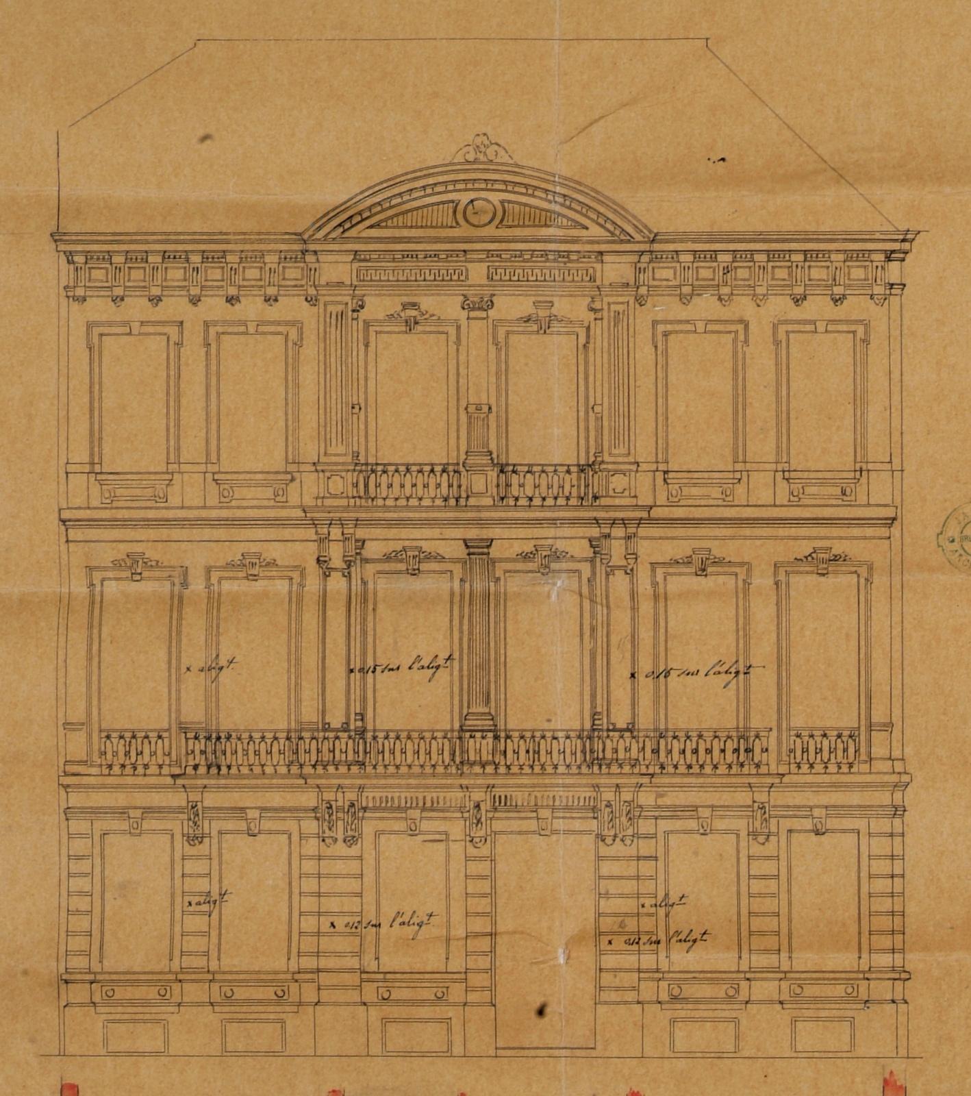 À l\'angle de l\'avenue Louise et de la rue Blanche, côté pair, élévation d\'un hôtel particulier relevant de l\'éclectisme (partiellement démoli, voir avenue Louise 107), architecte E. JANLET, AVB/TP 14481 (1870).