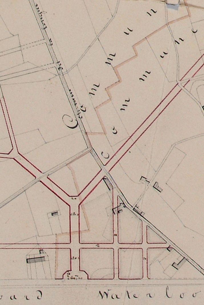 Le tracé de la chaussée de Charleroi sert de référence pour la création de la place Stéphanie. Plan de Charles Vanderstraeten du 09.02.1839, AVB/TP 26822 (1839).
