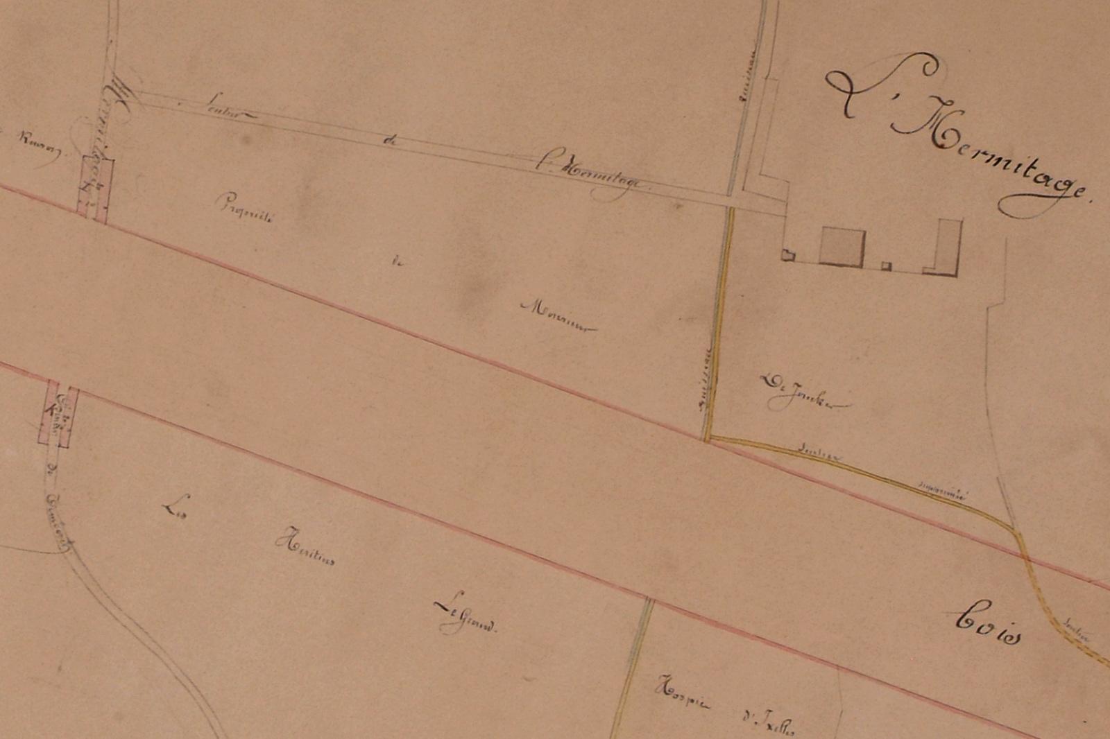 Plan de 1862, projetant la future avenue Louise et figurant les anciens chemins et demeures, dont le château de l\'Ermitage, AVB/PP 1544.