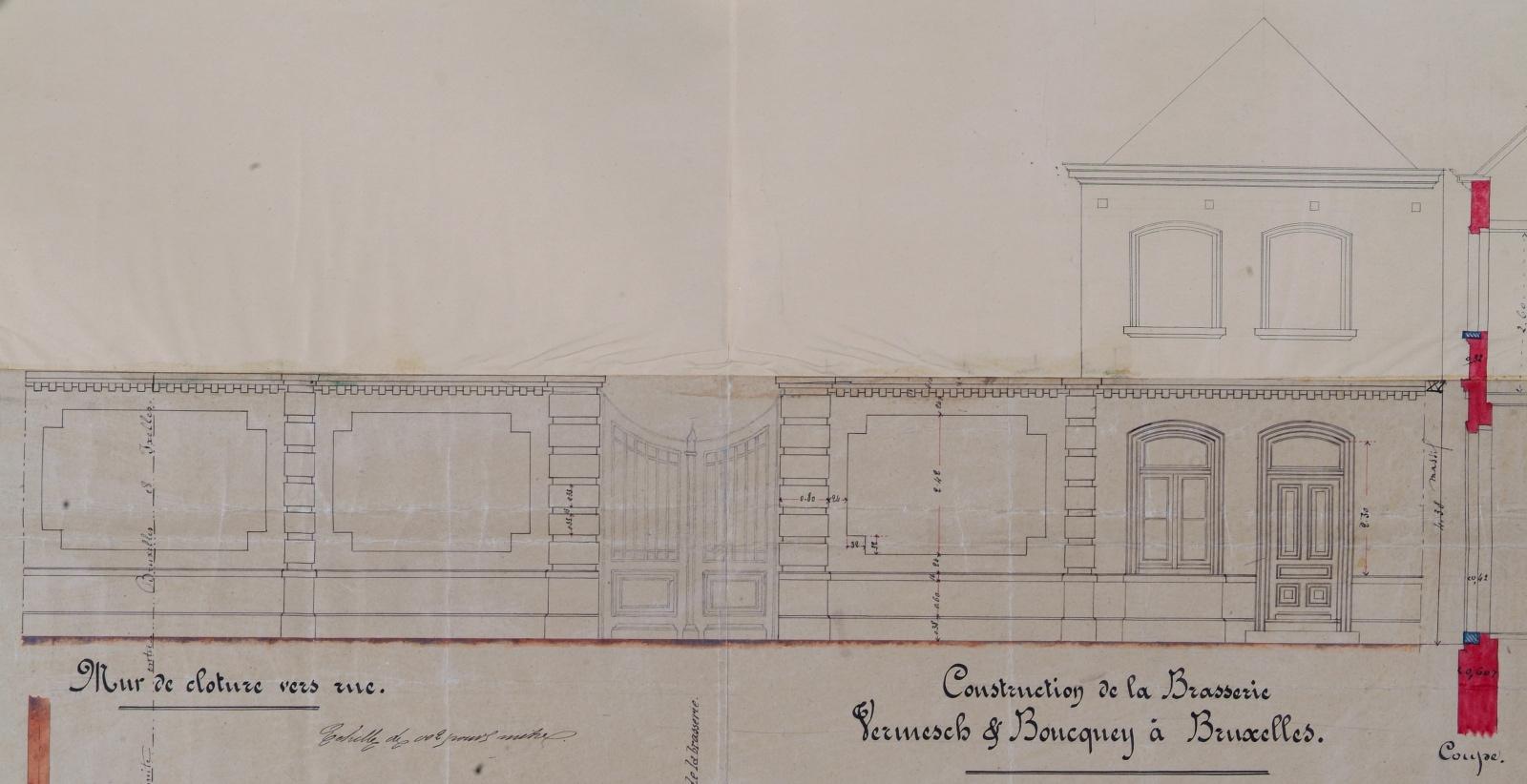 Rue de Tenbosch, Brasserie Louise, bâtiment et mur de clôture à front de rue, élévation, AVB/TP 22856 (1875).